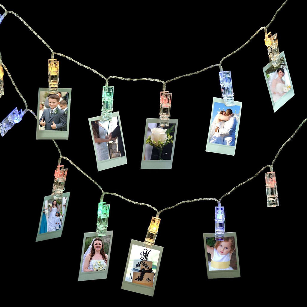 7 Ft 20 Assorted LED Photo Clips Battery Powered Fairy String Lights - Dual Mode