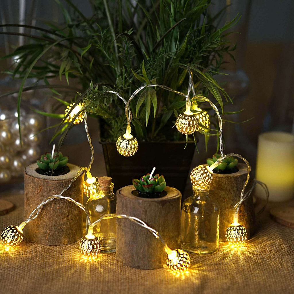 6 Ft Moroccan Gold LED Globe String Lights Battery Operated  - Warm White