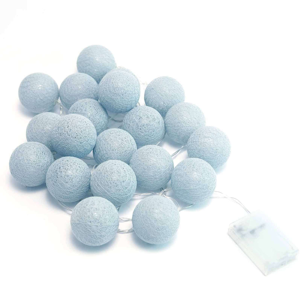 13 Ft Cotton Ball String Lights Battery Operated With 20 Cool White LED - Pastel Gray