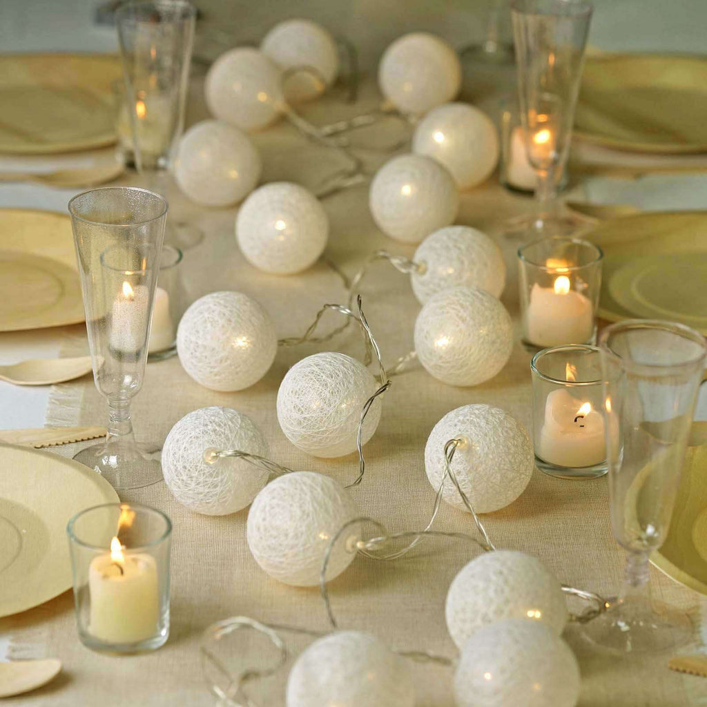 13 Ft Cotton Ball String Lights Battery Operated With 20 Warm White LED - Ivory