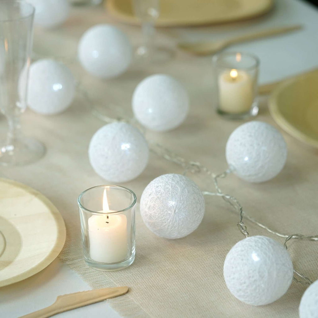 13 Ft Cotton Ball String Lights Battery Operated With 20 Cool White LED - White