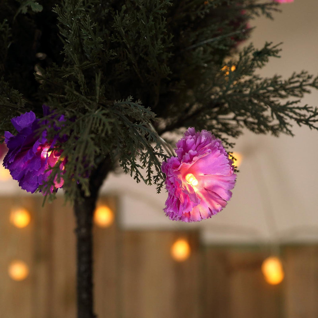 4 FT | 10 LED Warm White Carnation Flowers |  Battery Operated Fairy String Lights - Purple & Lavender