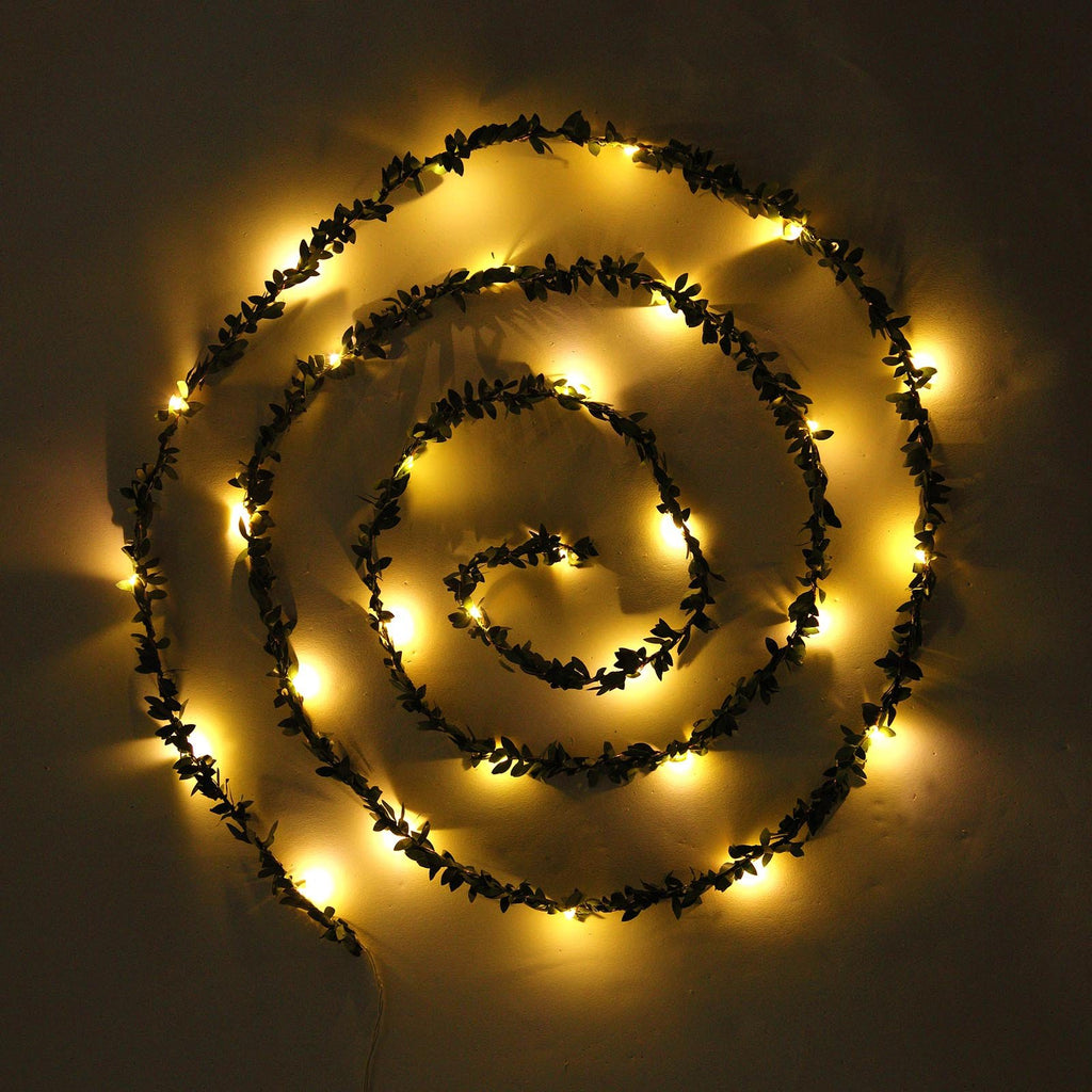 10 FT | 30 LED Green Leaf Garland | Battery Operated Fairy String Lights - White