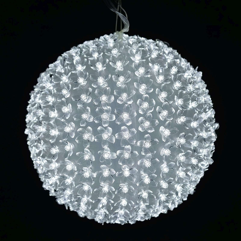 300 LED 8 Sequence Florescent Xmas Party Decorative Flower Ball Lamp Strobe Light - White