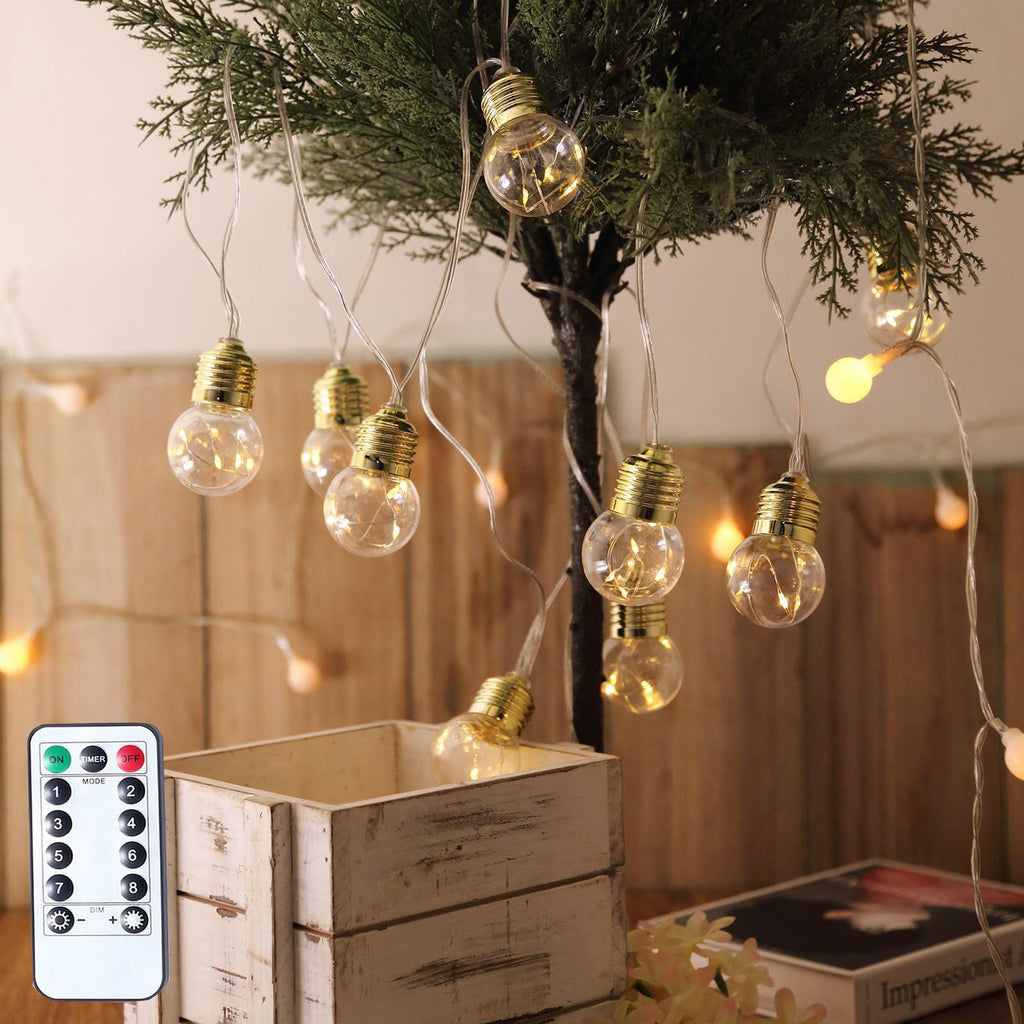 13FT | 10 LED Bulbs | Warm White 8-Mode Dimmable Fairy Light Bulbs with Gold Base | Remote Included