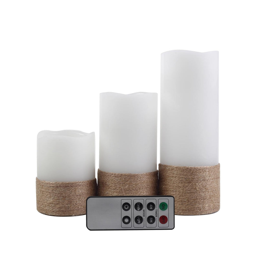 Set of 3 | Flameless Candles Natural Brown Twine | Battery Operated LED Pillar Candle Lights with Remote Timer - 4"