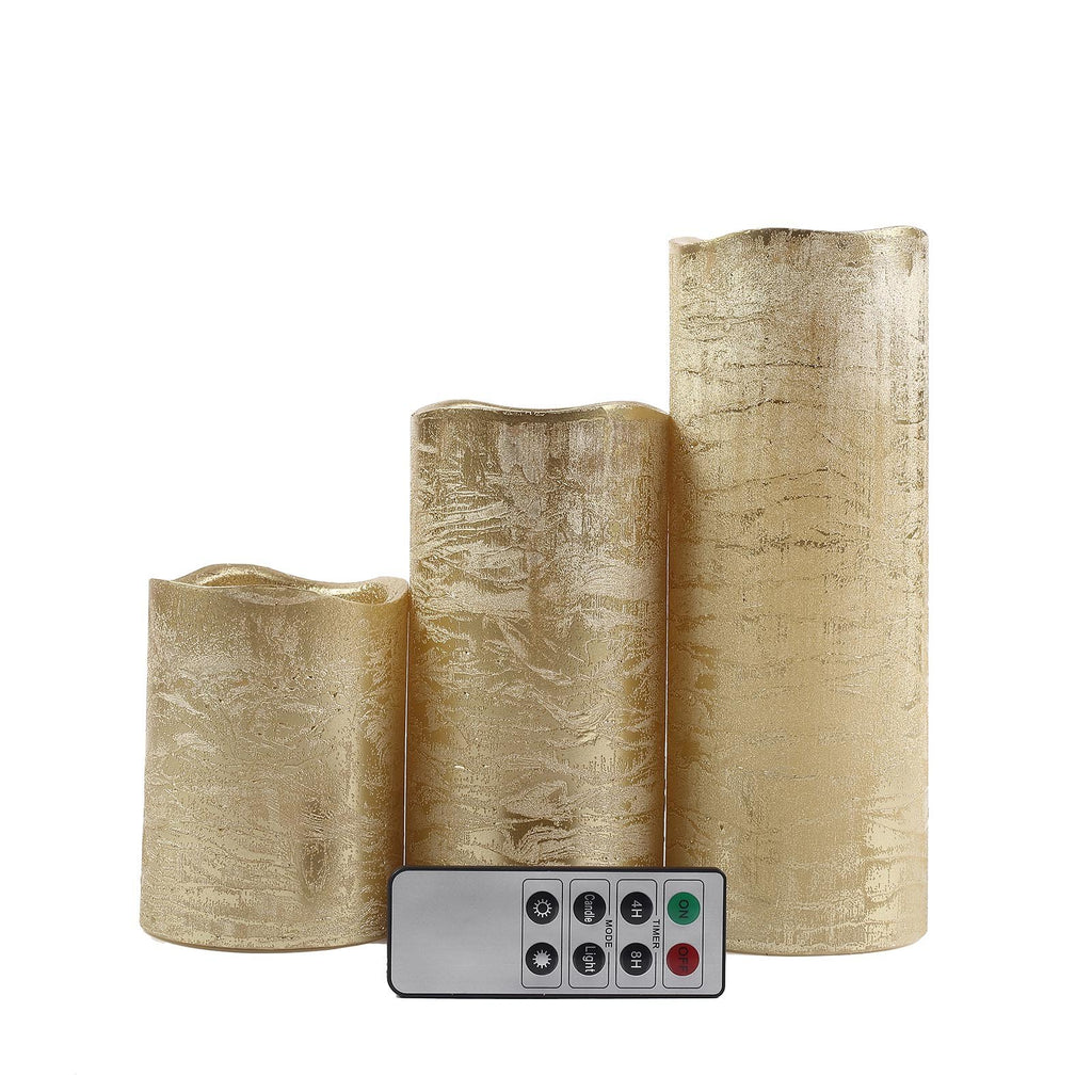 Set of 3 | Metallic Gold | Flameless Candles | Battery Operated LED Pillar Candle Lights with Remote Timer - 4"