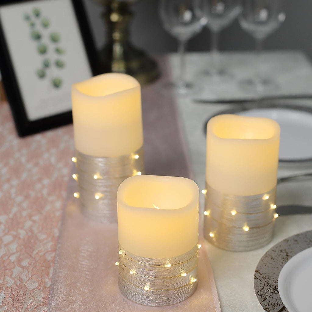 Set of 3 | Silver | Flameless Candles With LED String Light | Battery Operated LED Pillar Candle Lights with Remote Timer - 4"