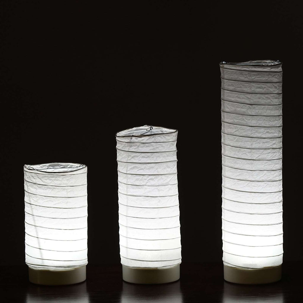 3 PCS Cylinder LED Light up Tabletop Paper Lanterns For Wedding Party Event Centerpiece Decoration