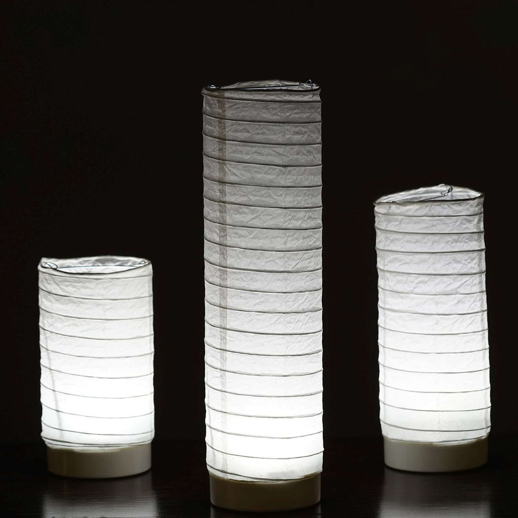 3 PCS Glowing Cylinder Tube LED Light up Tabletop Paper Lanterns For Wedding Party Event Decoration