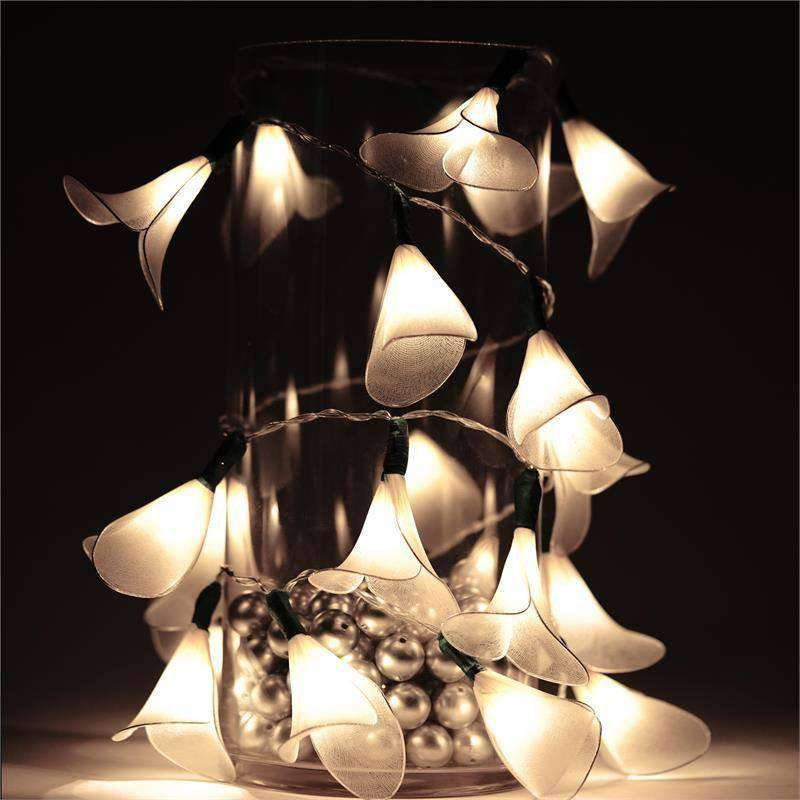 6FT 20LED Calla Lily Fairy String Light For Wedding Party Birthday Outdoor Decor - White