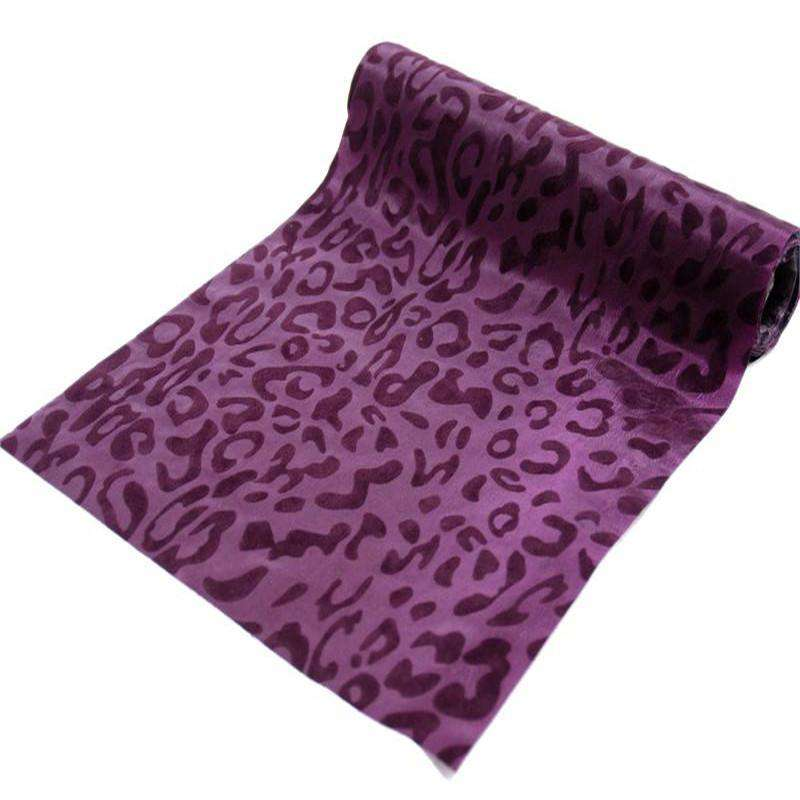 "Wholesale Taffeta Leopard Cheetah Animal Print Fabric Bolt For Wedding Theme Party Event Decoration-12"" x 10Yards - Eggplant / Eggplant"