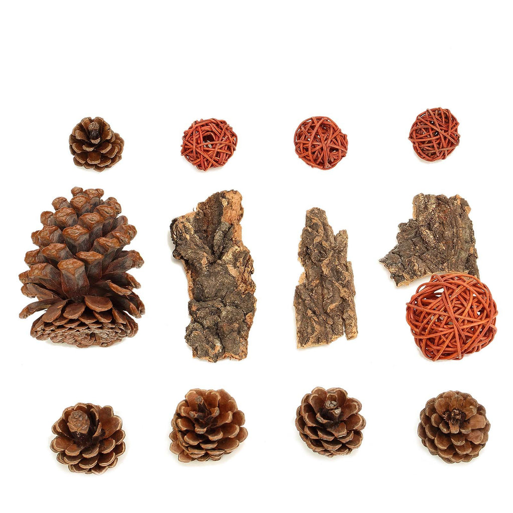 13 Pack Natural Pine Cones Rattan Balls and Barks Assorted Potpourri Vase Fillers Bowl DIY Table Decorations