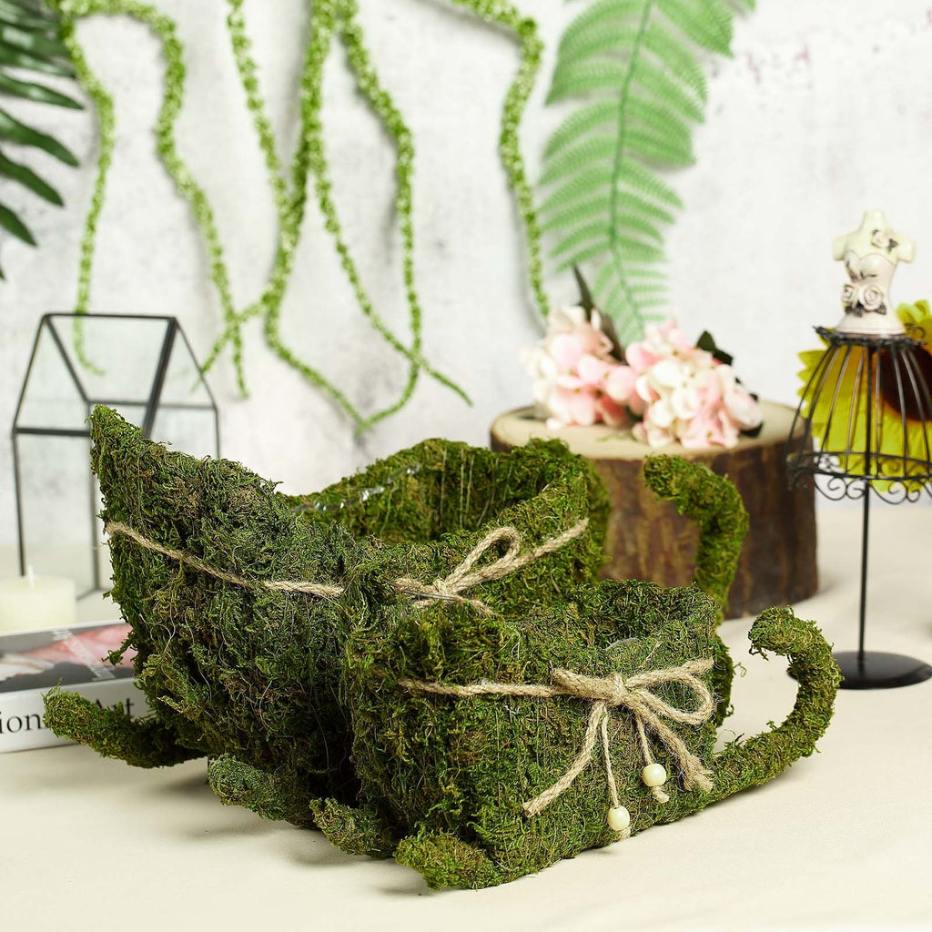 "Set of 2 | Preserved Moss Sleigh Planter Box with Rustic Braided Twine Bow - 20"" & 15"""