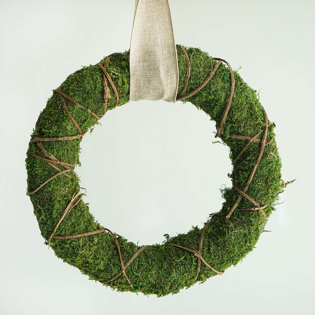 "2 Pack | 14"" Green Preserved Moss Wreaths with Natural Twig Wraps"