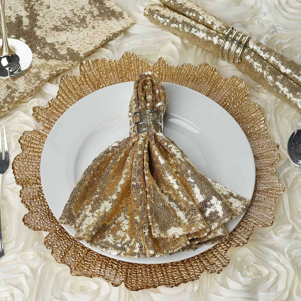1 PCS Premium Sequin Napkin For Wedding Banquet Party Table Decoration - CHAMPAGNE - 20x20""