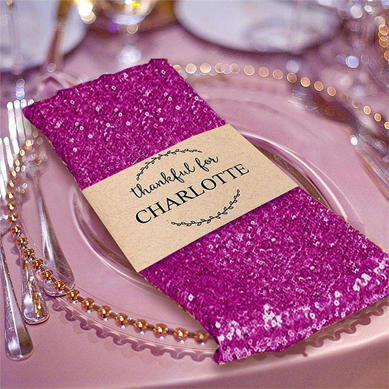 "20"" Premium Fushia Sequin Napkin For Wedding Banquet Party Table Decoration"