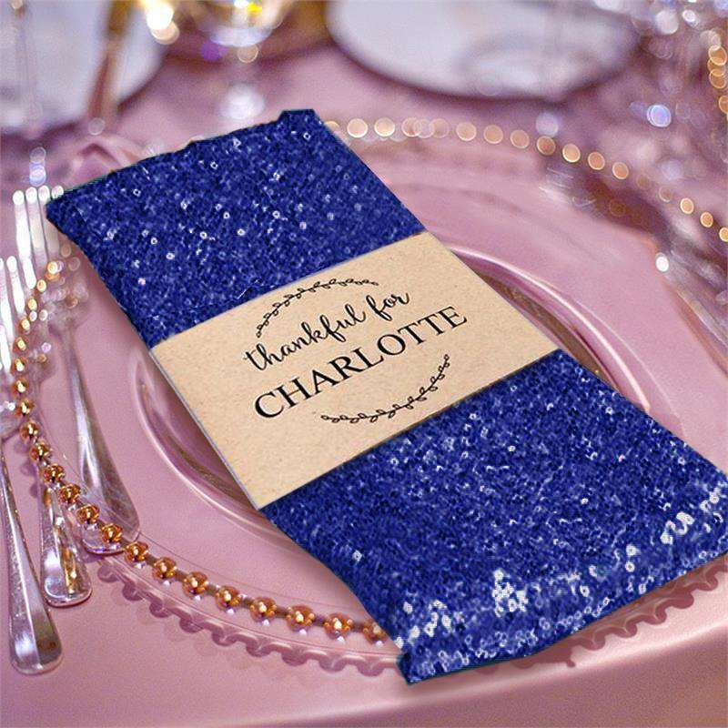 1 PCS Navy Blue Premium Sequin Napkin