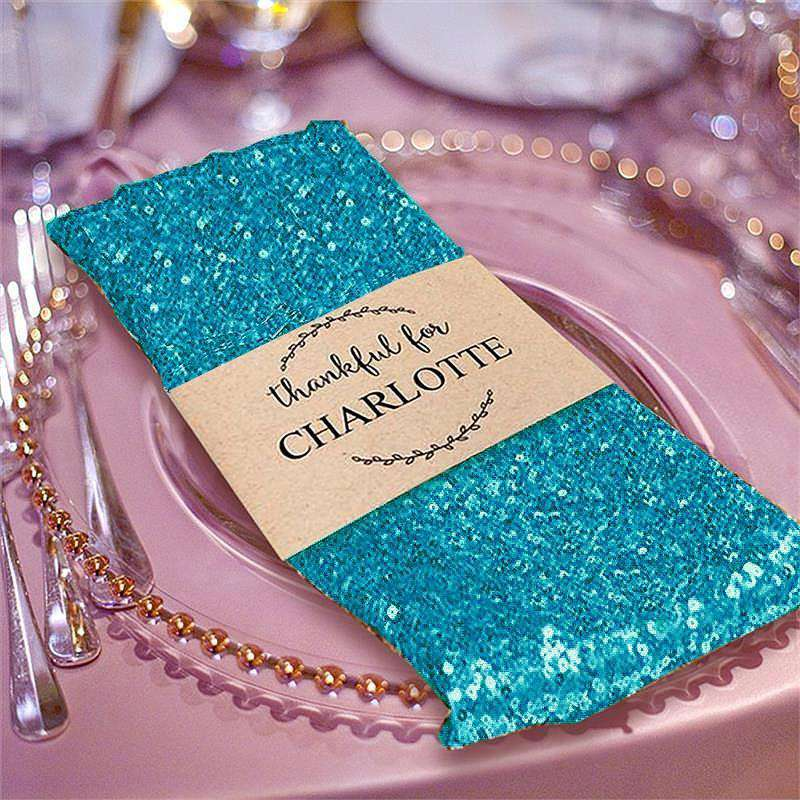"20"" Premium Turquoise Sequin Napkin For Wedding Banquet Party Table Decoration"