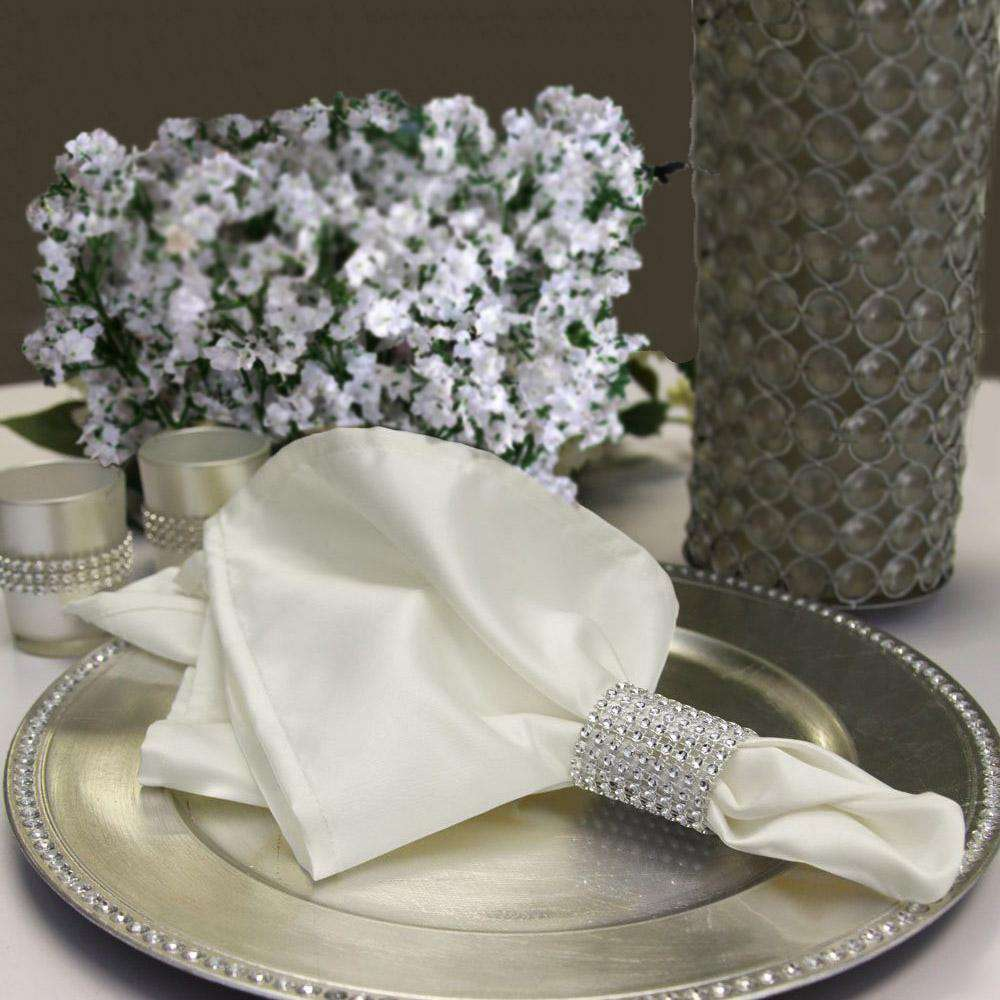 5 Pack Wholesale Ivory Satin Linen Wedding Napkins