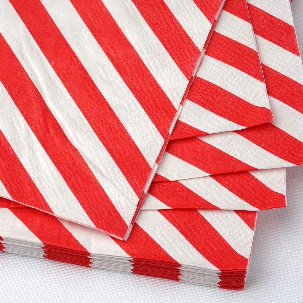 Diagonal Striped Restaurant Party Beverage Paper Napkins - Red and White -20 PCS
