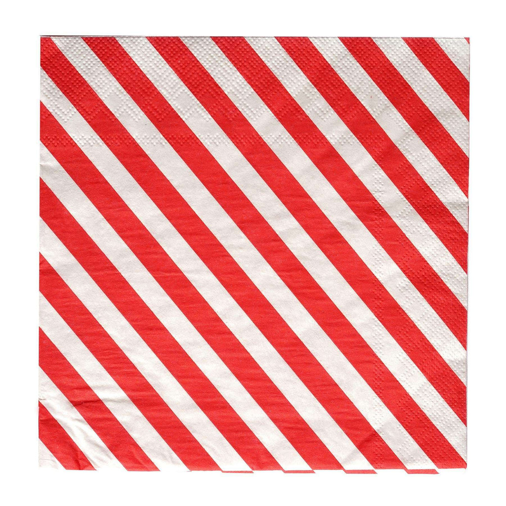 "20 Pack 13"" Stripe 2 Ply Paper Beverage Napkins - Red/White"