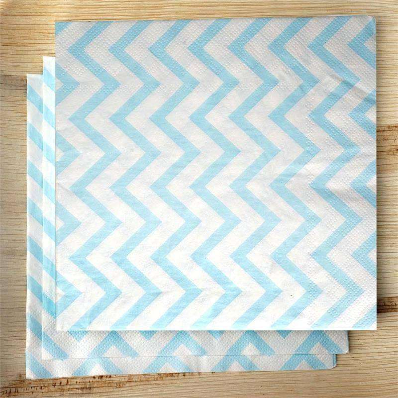 Chevron Printed Restaurant Party Beverage Paper Napkins- Light Blue and White -20 PCS