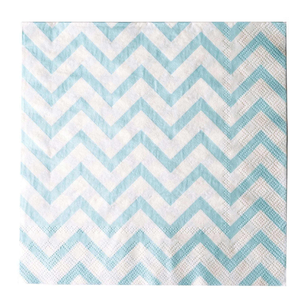 "20 Pack 13"" Chevron 2 Ply Paper Beverage Napkins - Light Blue/White"