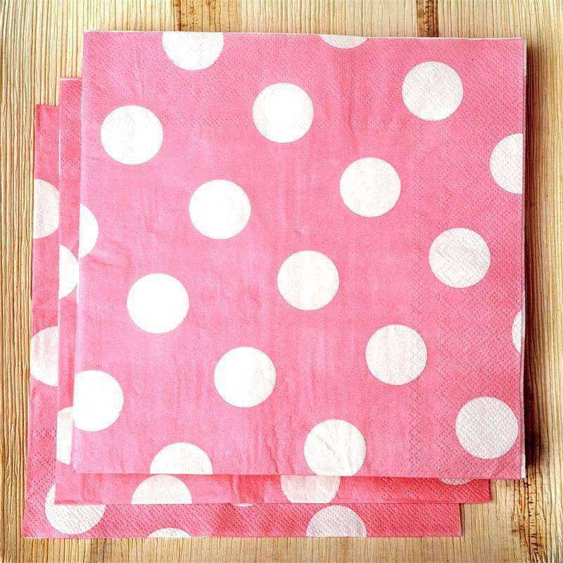 Big Polka Dots Restaurant Party Beverage Paper Napkins - Pink and white - 20 PCS