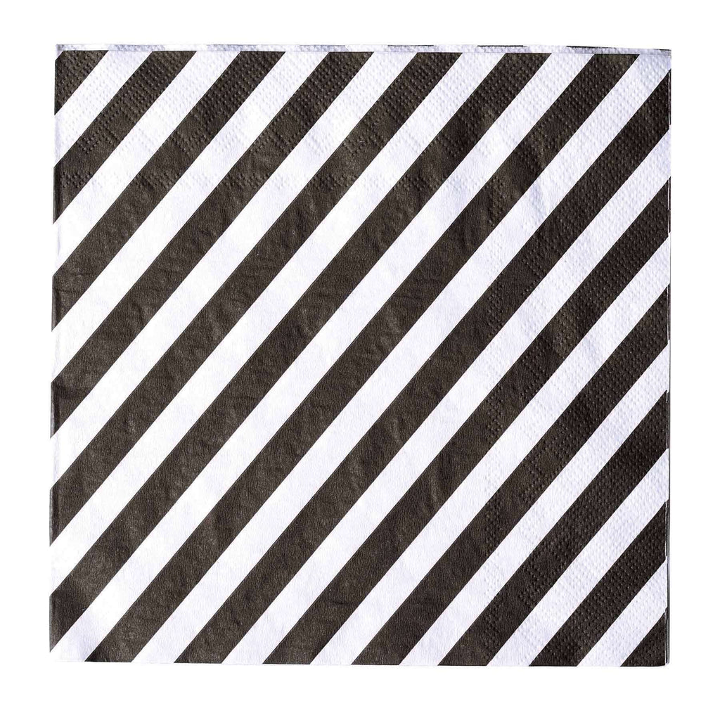 "20 Pack 13"" Stripe 2 Ply Paper Beverage Napkins - Black/White"