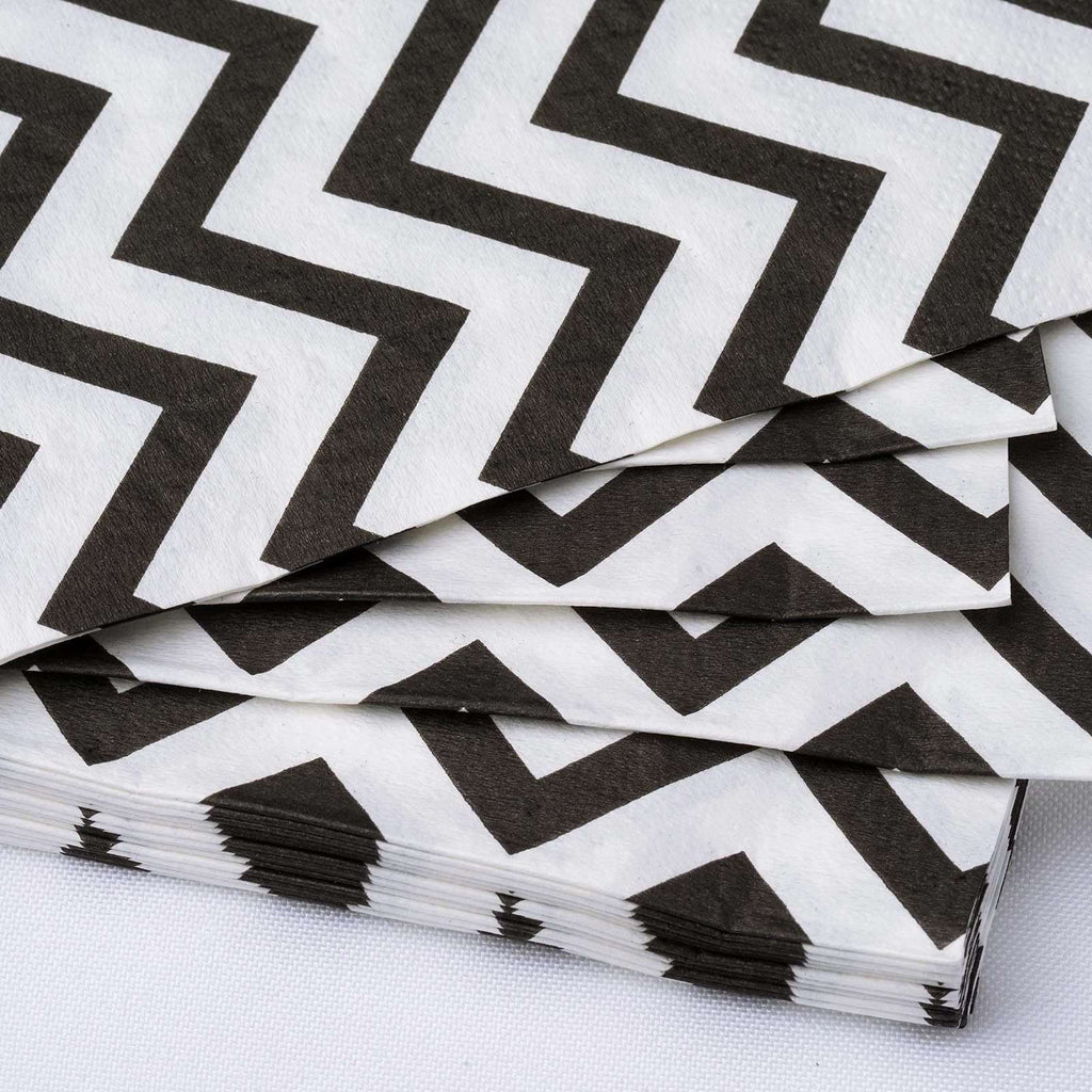 Chevron Printed Restaurant Party Beverage Paper Napkins - Black and White  -  20 PCS