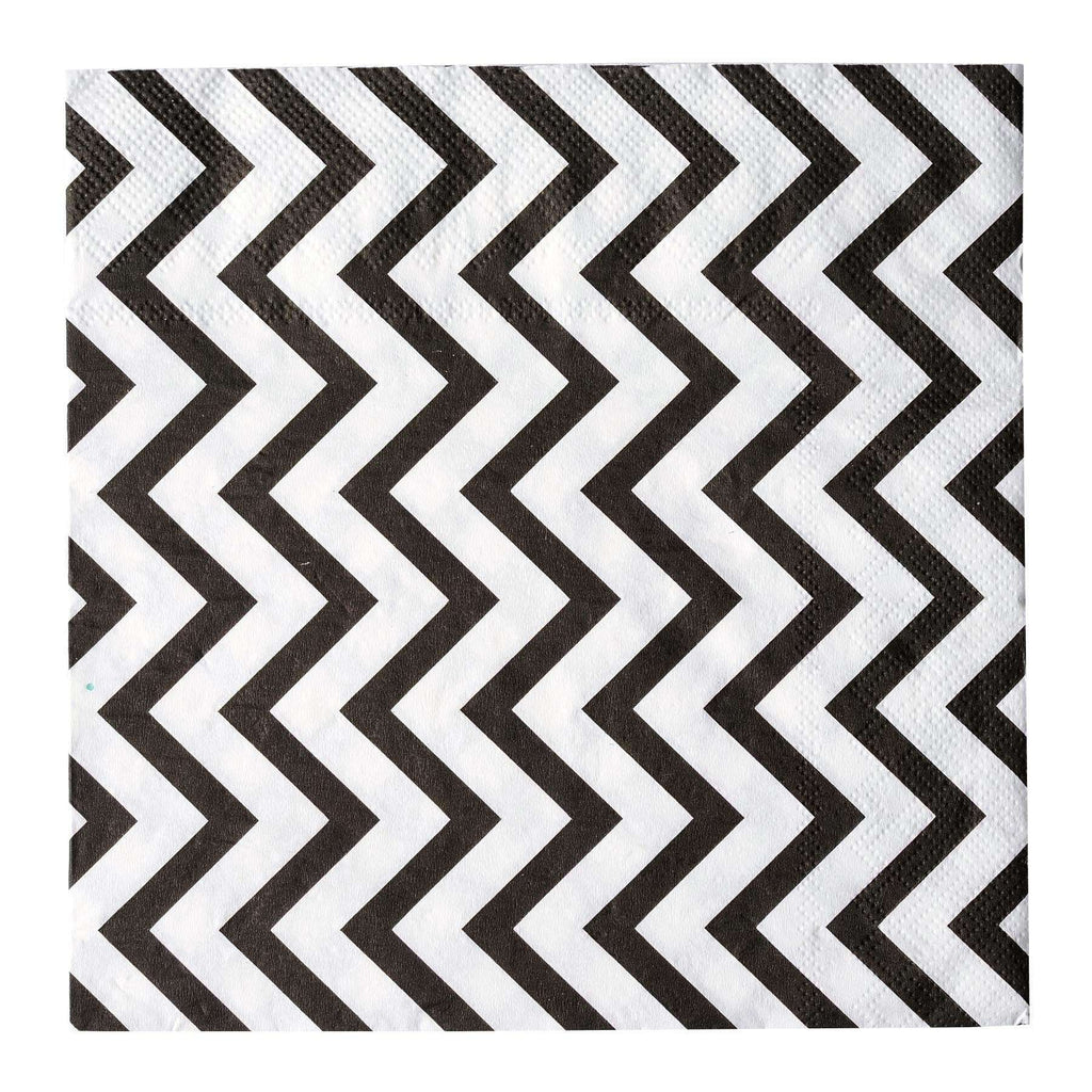 "20 Pack 13"" Chevron 2 Ply Paper Beverage Napkins - Black/White"