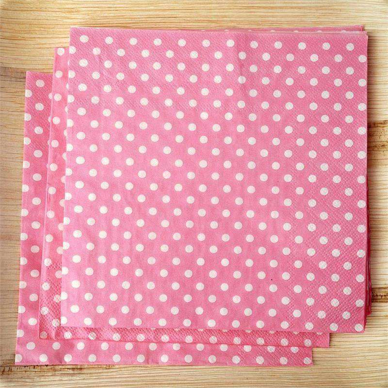 Polka Dots Restuarant Party Beverage Paper Napkins - Pink/White - 20 PCS
