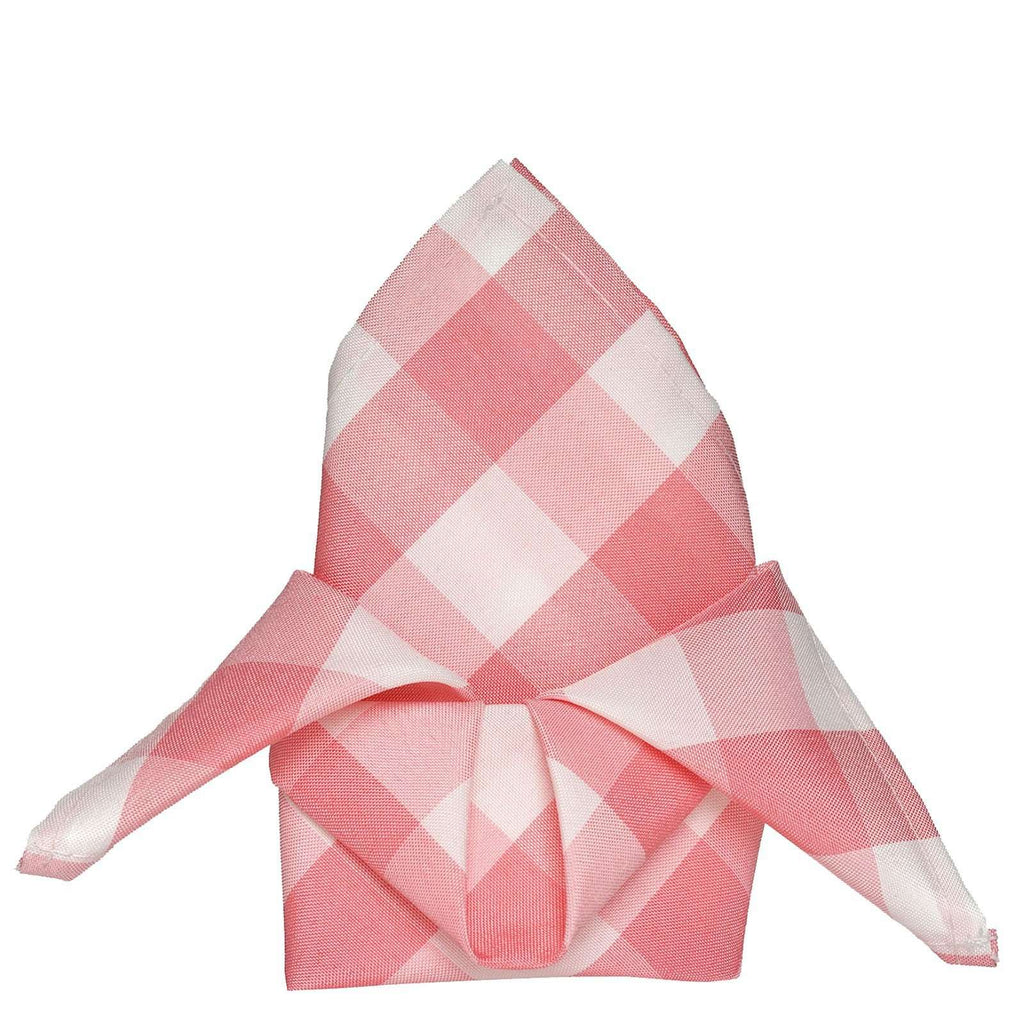 "15""x15"" ROSE QUARTZ/WHITE Checkered Wholesale Gingham Polyester Linen Picnic Restaurant Dinner Napkins - 5 PCS"
