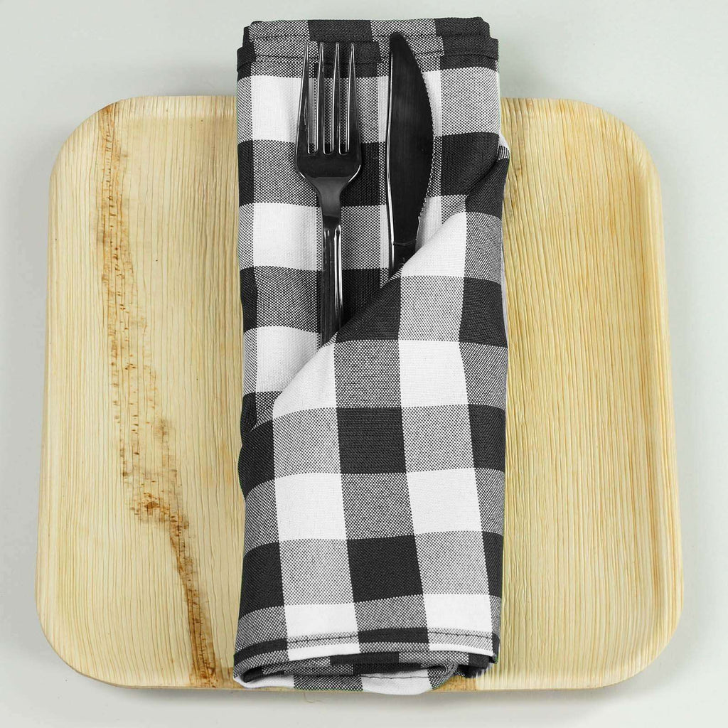 "15x15"" BLACK/WHITE Checkered Wholesale Gingham Polyester Linen Picnic Restaurant Dinner Napkins - 5 PCS"