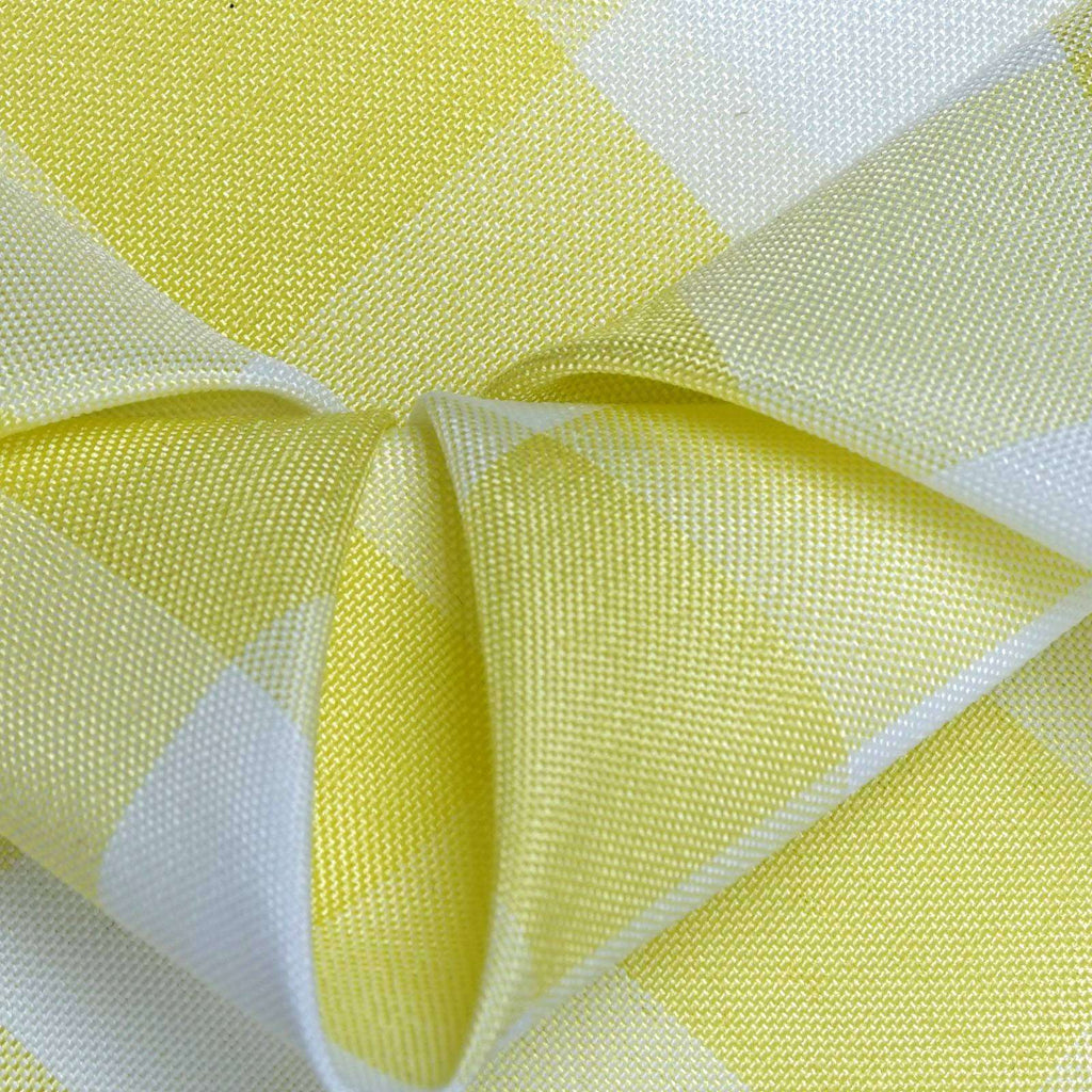 "15""x15"" YELLOW/WHITE Checkered Wholesale Gingham Polyester Linen Picnic Restaurant Dinner Napkins - 5 PCS"