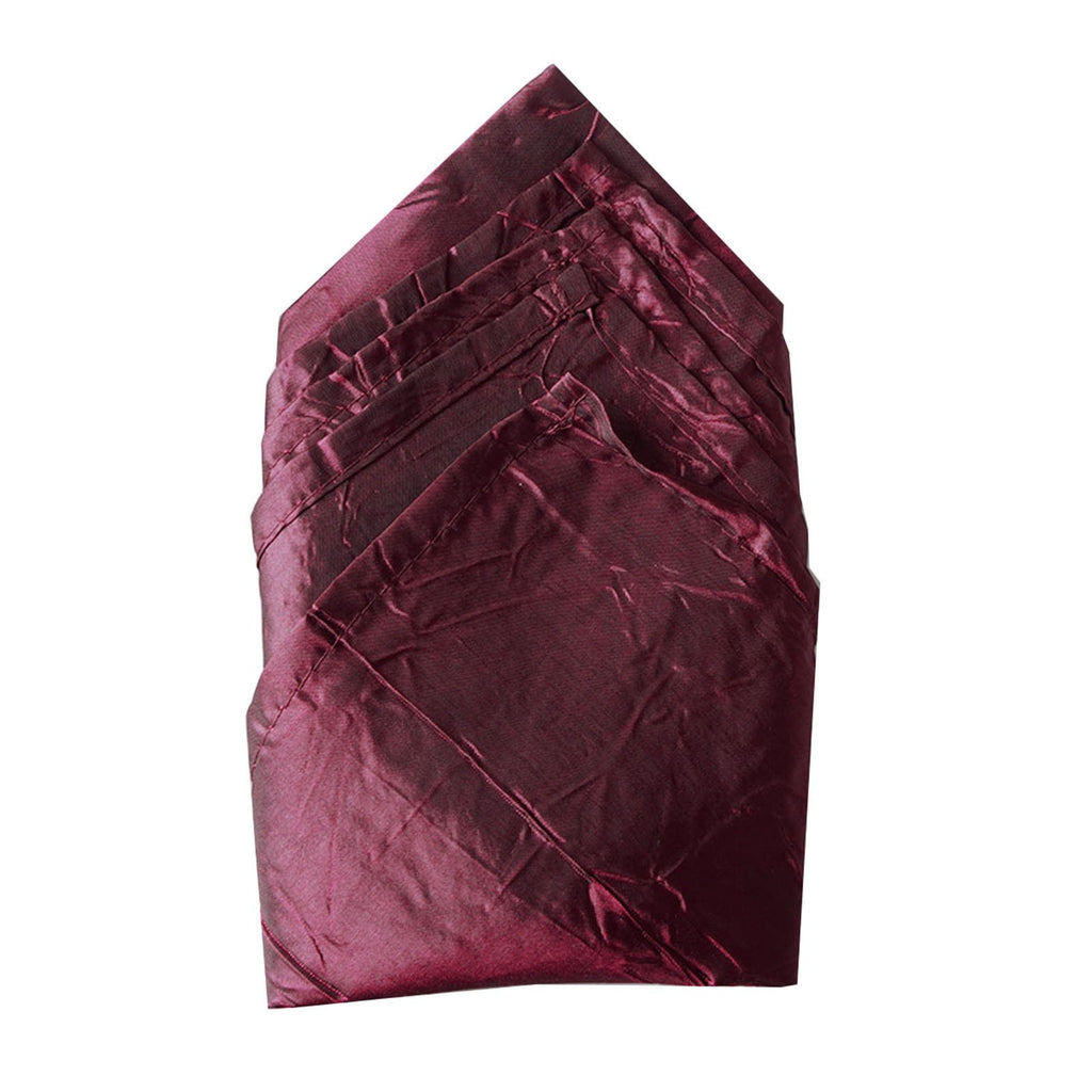 5 PCS Wholesale Burgundy Taffeta Crinkle Napkins For Wedding Birthday Party Tableware - 20x20""