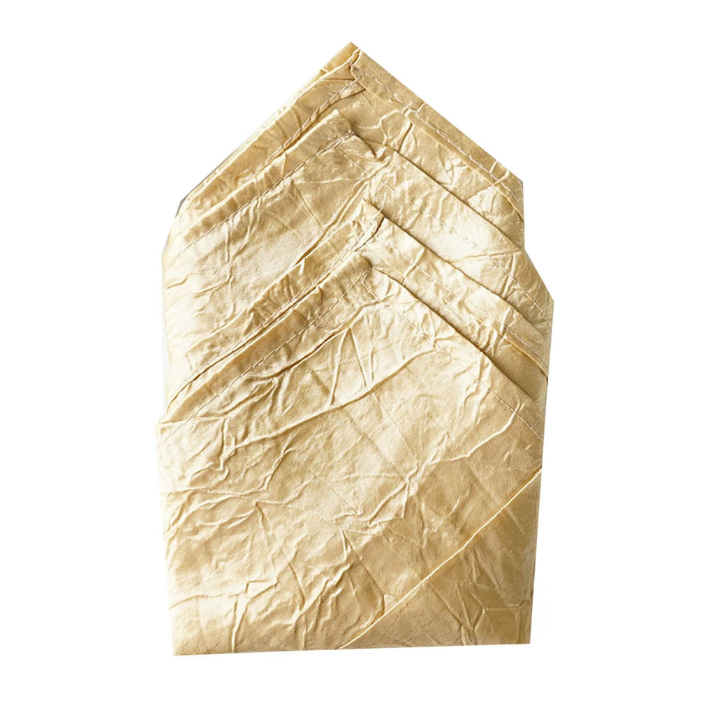 5 PCS Wholesale Champagne Taffeta Crinkle Napkins For Wedding Birthday Party Tableware - 20x20""