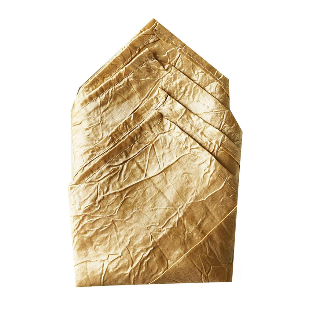 5 PCS Wholesale Gold Taffeta Crinkle Napkins For Wedding Birthday Party Tableware - 20x20""