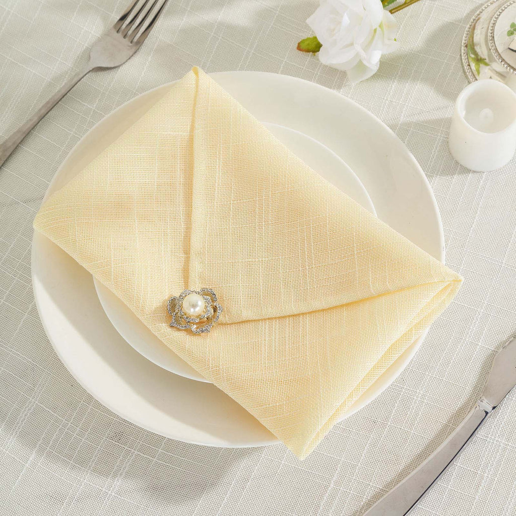 Faux Linen Napkins, Slubby Textured Wrinkle Free Table Napkins