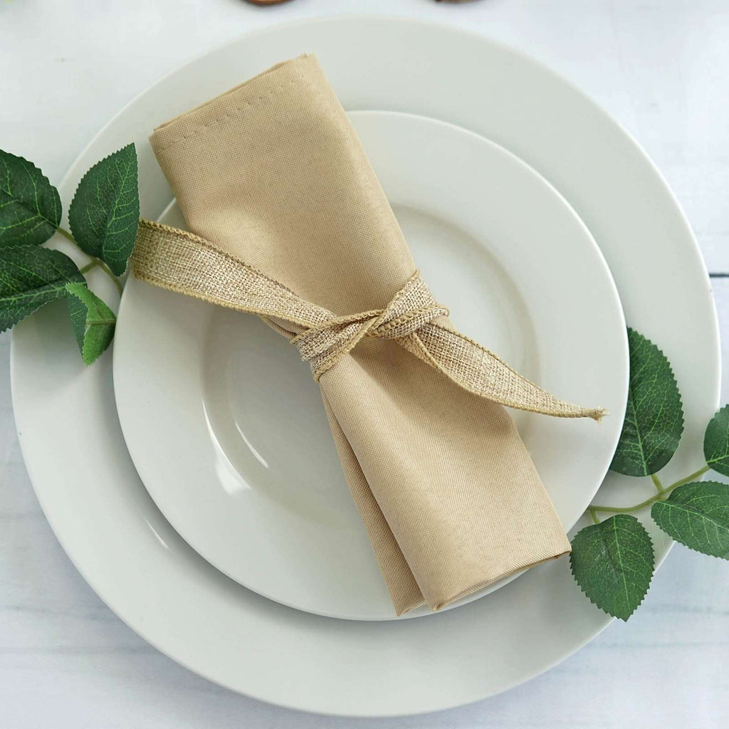 "17""x17"" BEIGE Wholesale Polyester Linen Napkins For Wedding Birthday Party Tableware - 5 PCS"