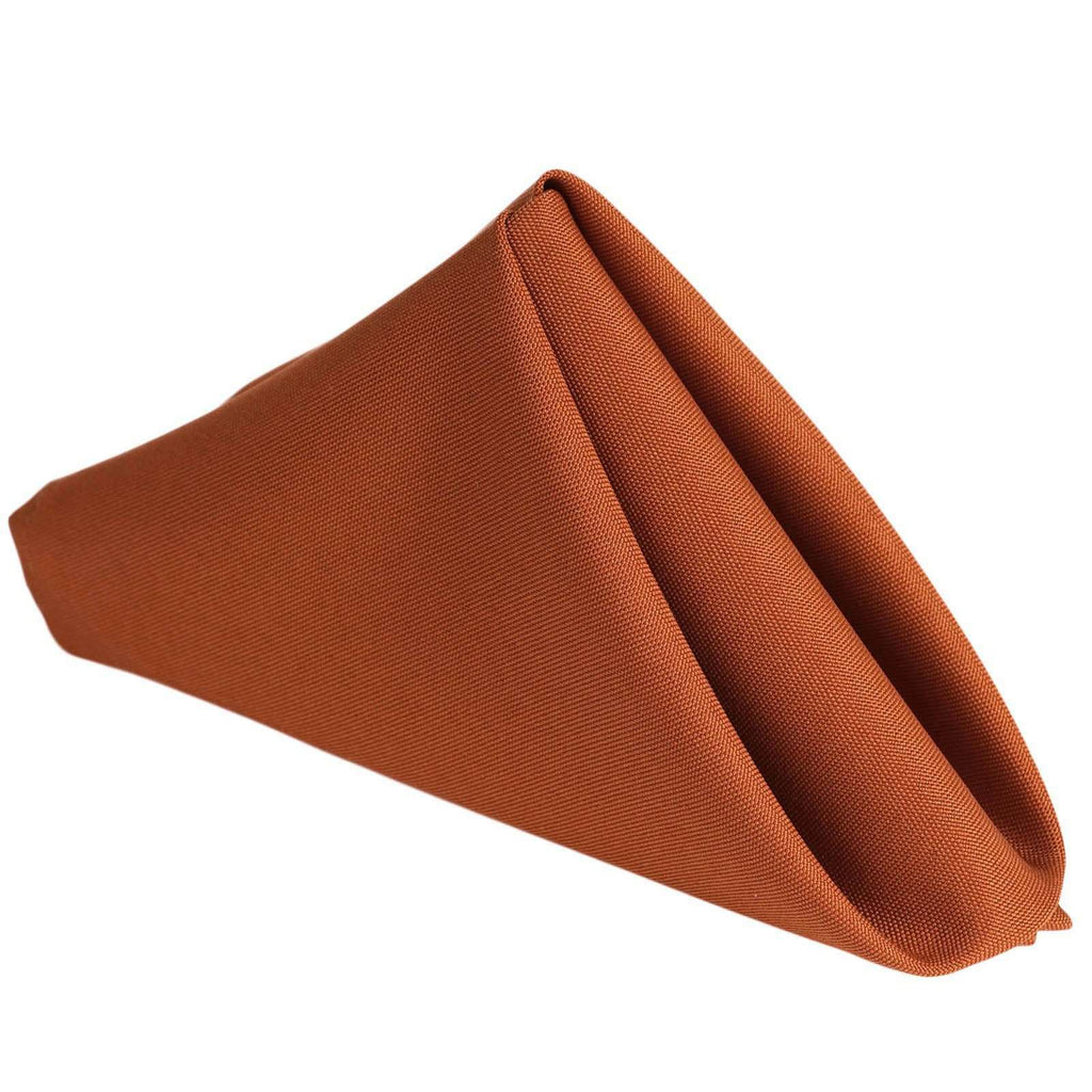 "17""x17"" BURNT ORANGE Wholesale Polyester Linen Napkins For Wedding Birthday Party Tableware - 5 PCS"
