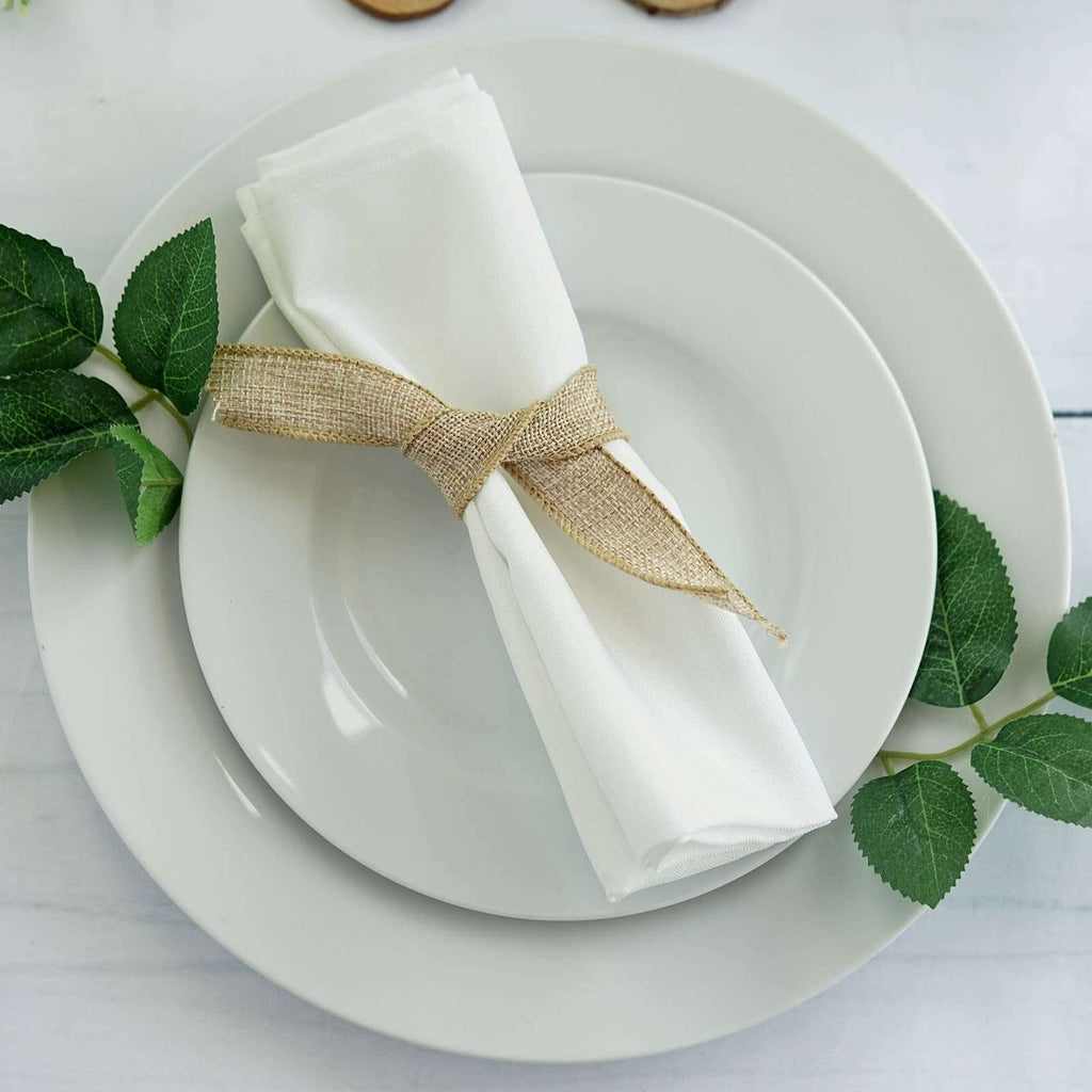 "5 Pack 17""x17"" Off-White Polyester Linen Napkins"