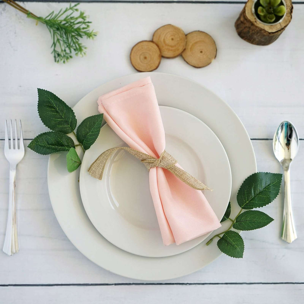 "20x20"" BLUSH Wholesale Polyester Linen Napkins For Wedding Birthday Party Tableware - 5 PCS"