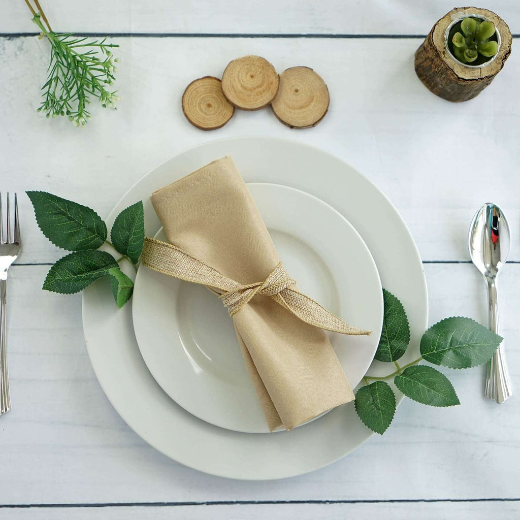 "20x20"" BEIGE Wholesale Polyester Linen Napkins For Wedding Birthday Party Tableware - 5 PCS"