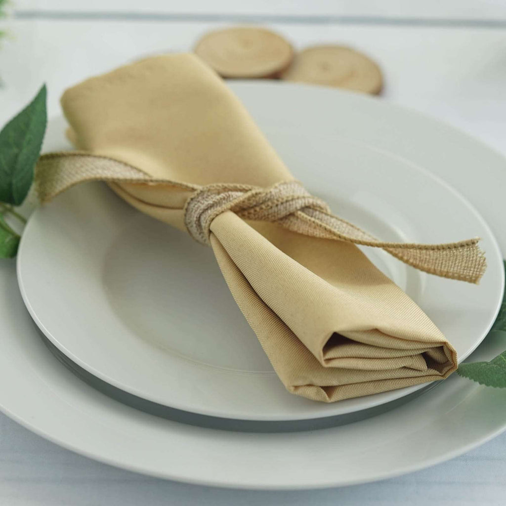 "20x20"" CHAMPAGNE Wholesale Polyester Linen Napkins For Wedding Birthday Party Tableware - 5 PCS"