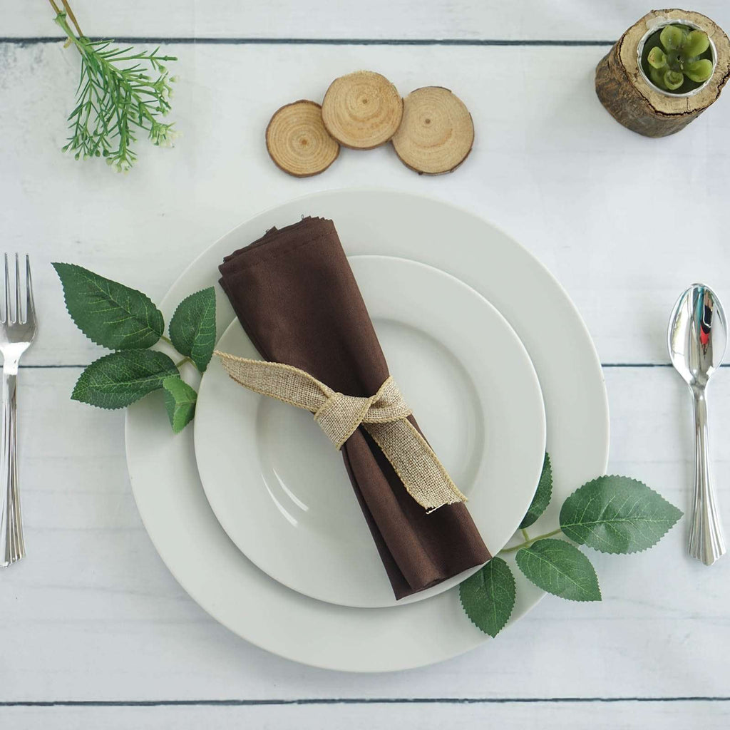 "20x20"" CHOCOLATE Wholesale Polyester Linen Napkins For Wedding Birthday Party Tableware - 5 PCS"
