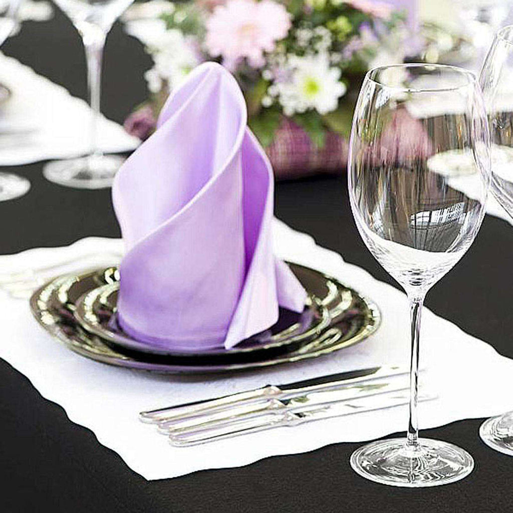 "20x20"" WHITE Wholesale Polyester Linen Napkins For Wedding Birthday Party Tableware - 5 PCS"