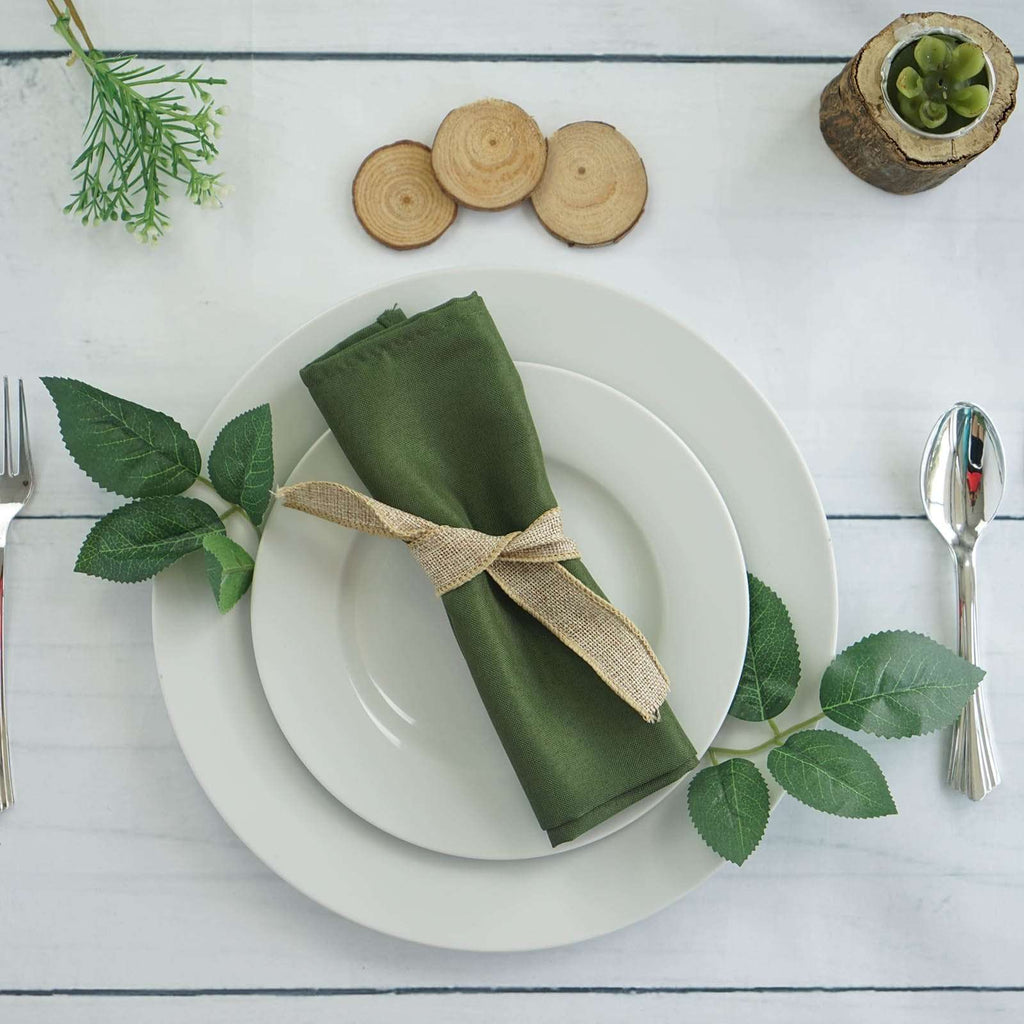 "20x20"" WILLOW GREEN Wholesale Polyester Linen Napkins For Wedding Birthday Party Tableware - 5 PCS"