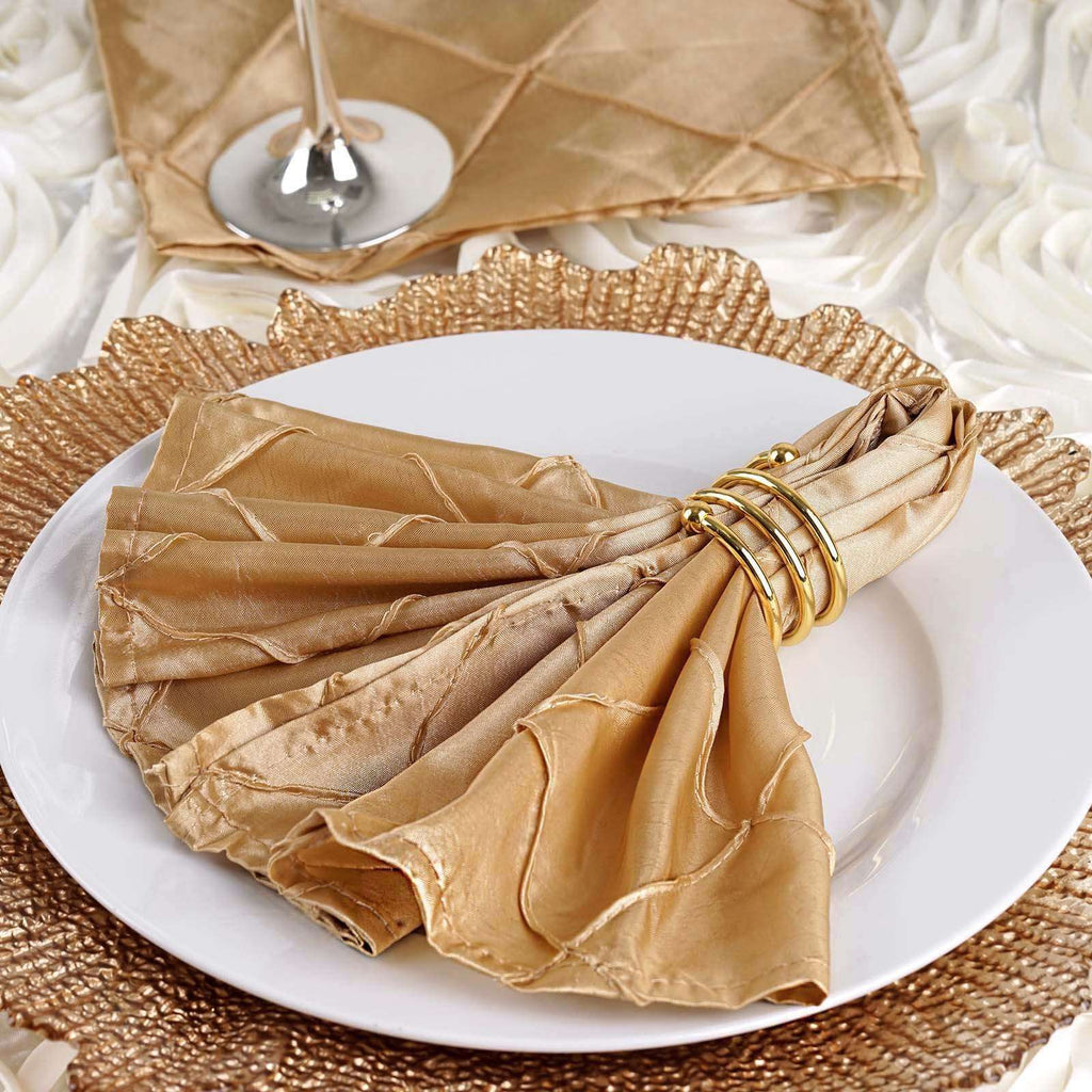 "5 PCS Wholesale Champagne Pintuck Napkins For Wedding Birthday Party Tableware - 17""x17"""